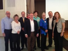 Candidates at May monthly meeting spoke to our club, posing with Club President Mary Borevitz.