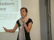 Crystal Anthony from North County Lifeline speaks on Human Trafficking at Club's monthly meeting.