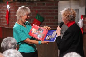 """Mary surprised by the Board - enjoying the """"memories""""."""