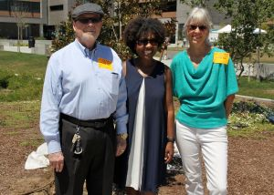 LSM Democratic Club President Gary Bland with SMHS Principal Tiffany Campbell and Past President Mary Borevitz