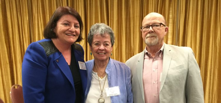 Speaker Emeritus Toni Atkins with Club President Gary Bland and Betty Ball